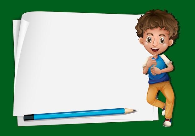 Papierowy szablon z chłopcem i ołówkiem