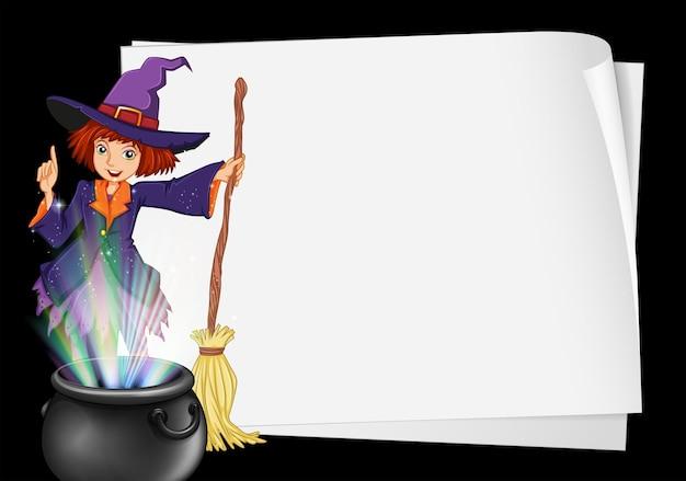 Papierowy szablon z czarownicą i doniczką