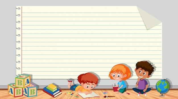 Papierowy szablon z dziećmi bawiącymi się w pokoju