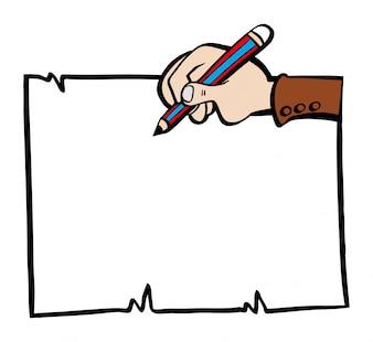 Papierowy szablon z ręką i ołówkiem