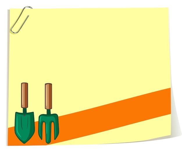 Papierowy szablon z widelcem ogrodowym i łyżką