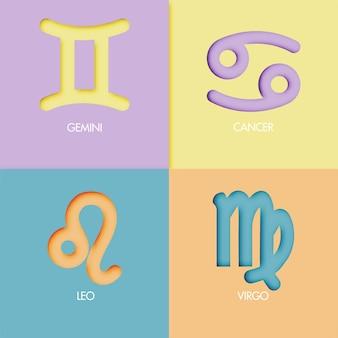 Papierowy sztuka stylu zodiaka znaka tła wektor