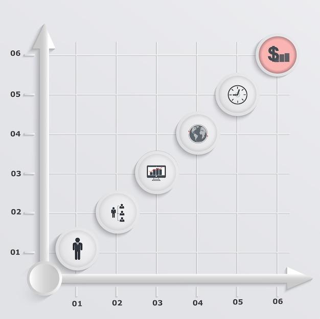 Papierowy wykres ekonomiczny krokowy. infografiki z ikonami
