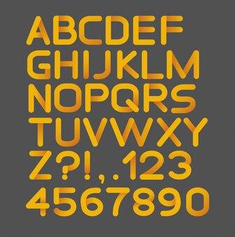 Papierowy żółty ścisły alfabet zaokrąglony. pojedynczo na czarno. pogrubienie