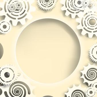 Papieru cięcia stylu białe przekładnie i trybiki na tle