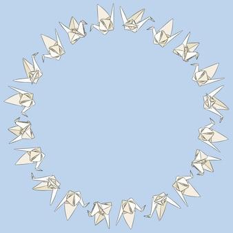 Papieru origami swand ręcznie rysowane gryzmoły ornament wieniec