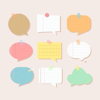 Papiery do notatników. ilustracja puste strony notatnika. papier przyklejony do ściany taśmą