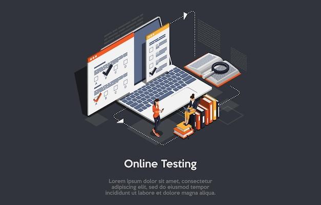 Papiery na laptopa z książkami informacyjnymi dwie postacie pracujące z nowoczesnymi pomysłami na zdalne studia cyfrowe