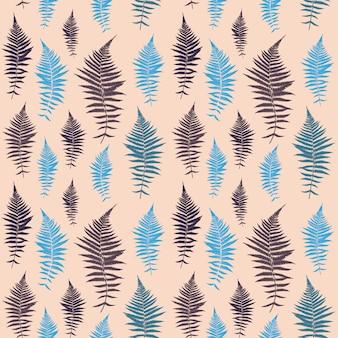 Paprociowy liścia wektoru paprociowego liścia wektorowy bezszwowy wzór