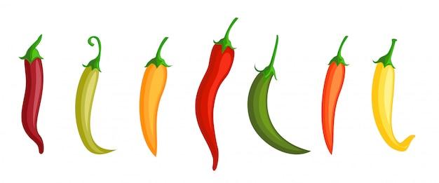 Papryczka chilli. gorąca czerwona, zielona i żółta papryka chili. różne kolory pieprzu. meksykańskie przyprawy, znaki ikona papryka.