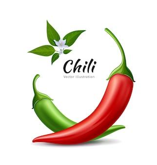 Papryczki chili czerwone i zielone świeże z liśćmi i kwiatem chili
