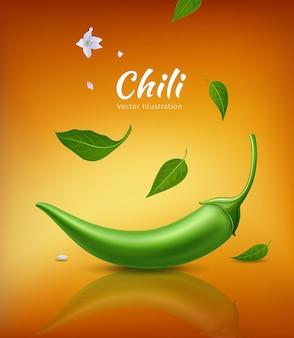 Papryczki chili zielone świeże i liście, realistyczne chili kwiat
