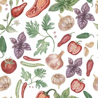 Papryka chili przyprawy akwarela ręcznie rysowane ilustracja patiern bezszwowe tło pikantne jedzenie
