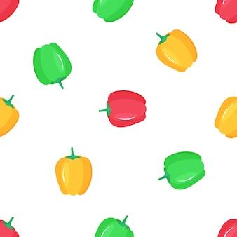 Papryka. wzór czerwonej, żółtej i zielonej papryki.