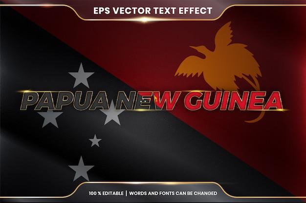 Papua-nowa gwinea z flagą kraju, edytowalny styl efektu tekstu z koncepcją gradientu koloru złota