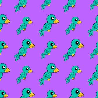 Papuga długoogonowa bezszwowe powtórzyć wzór. tło wektor ilustracja.
