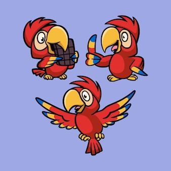 Papuga je czekoladę, stoi i leci zestaw ilustracji maskotki z logo zwierząt