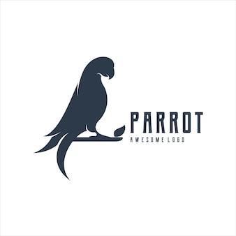 Papuga logo vintage ilustracja retro