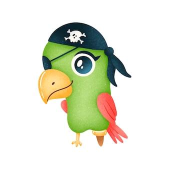 Papuga pirat kreskówka na białym tle. zwierzęcy piraci
