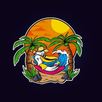 Papuga relaks na plaży