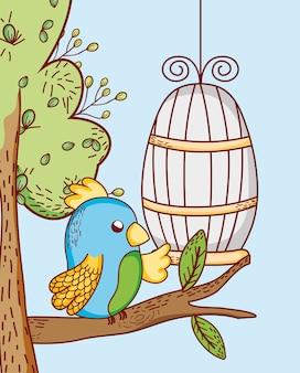 Papuga z klatki doodle kreskówki