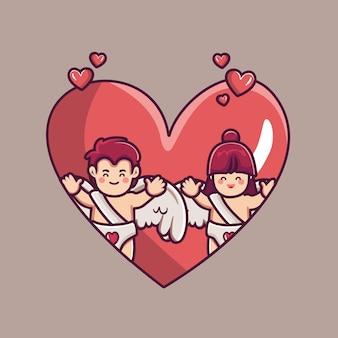 Para amorek chłopak i dziewczyna w sercu