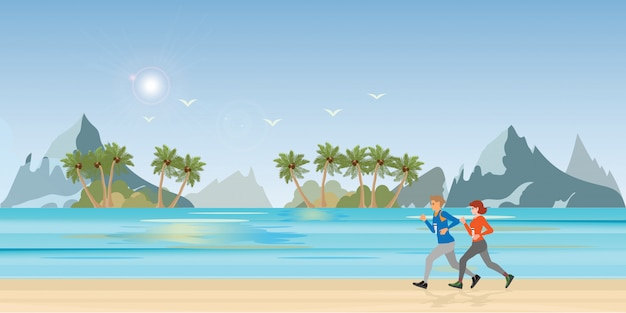 Para bieg na krajobraz plaży.