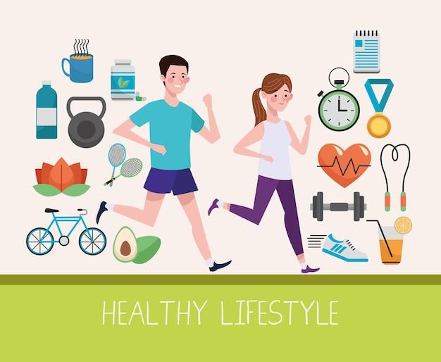 Para biegająca z elementami zdrowego stylu życia i postaciami zestaw ilustracji