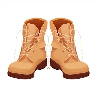 Para butów wojskowych butów do podróży górskich w stylu kreskówki
