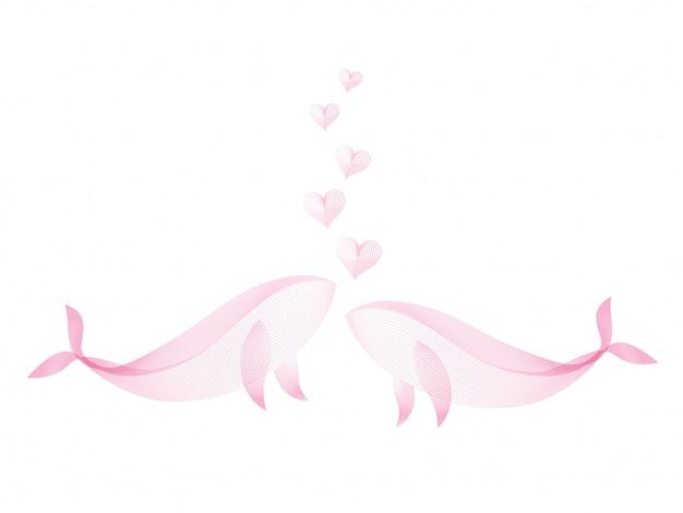 Para całuje wieloryba z sercem płynące tworzą różowy kolor linii wzór na białym tle. koncepcja miłości.