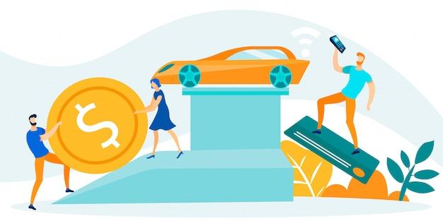 Para chce kupić samochód za gotówkę, człowiek oferuje transakcję