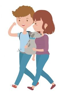 Para chłopiec i dziewczyna z psem