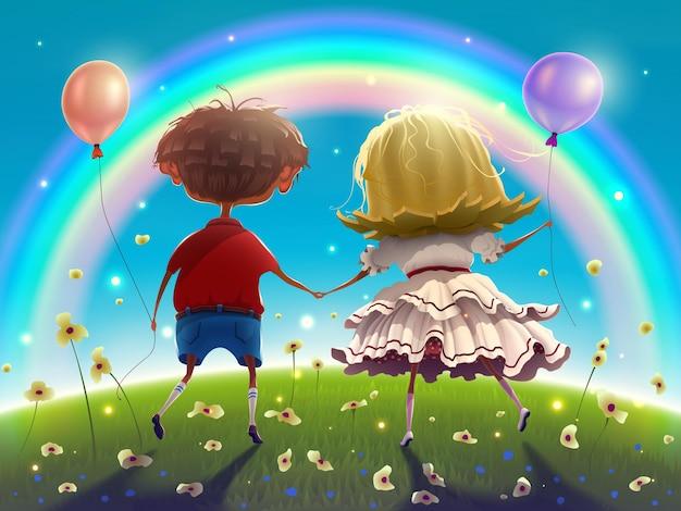 Para chłopiec i dziewczynka z balonami spacerują wśród zielonej trawy i kwiatów nad błękitnym niebem.