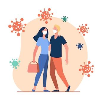 Para chroniąca się przed koronawirusem na zewnątrz. mężczyzna i kobieta w masce i przytulanie płaskiej ilustracji wektorowych. covid, epidemia, ochrona