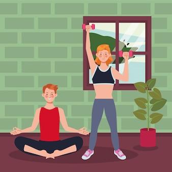 Para ćwiczy ćwiczenie w domu