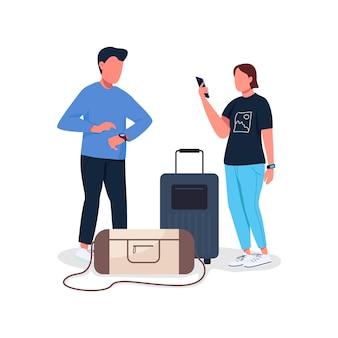 Para czeka na lot bez twarzy postaci płaskich kolorów