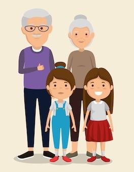 Para dziadków z dziećmi znaków awatarów