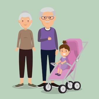 Para dziadków z postaciami dziecko awatary
