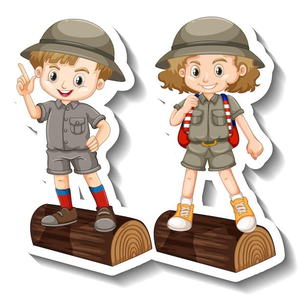 Para dzieci nosi strój safari naklejkę z postacią z kreskówek