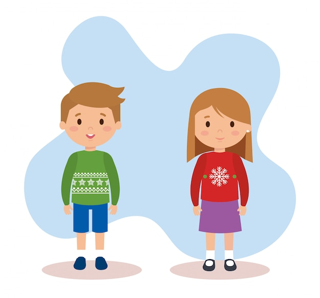 Para Dzieci Z Ubrania Grudnia Premium Wektorów