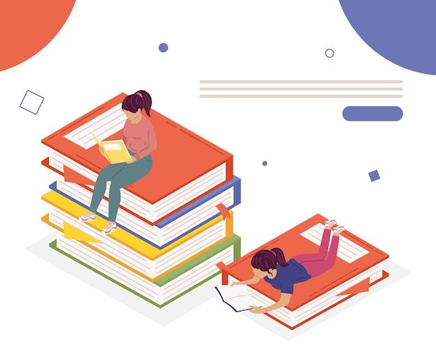 Para Dziewczyn Czytanie Książek, Projekt Ilustracji Obchodów Dnia Książki Premium Wektorów