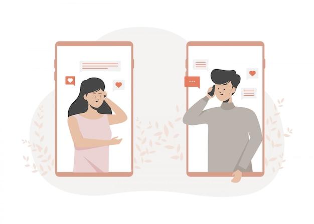 Para dzwoni i rozmawia ze sobą przez telefony komórkowe. płaska ilustracja.