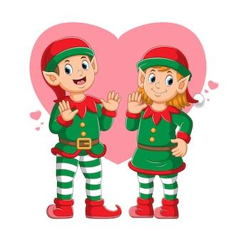 Para elfów przy użyciu kostiumu cyrkowego z piękną ilustracją ekspresji