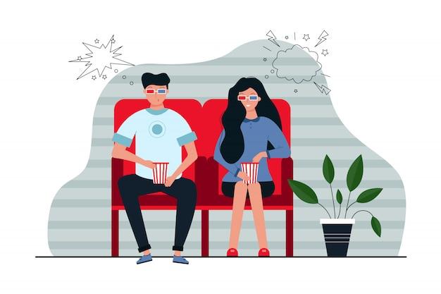 Para, film, rekreacja, koncepcja przyjaźni. młody szczęśliwy uśmiechnięty mężczyzna kobieta chłopak dziewczyna w okularach 3d i popcorn razem oglądając film w kinie. ilustracja rozrywki czasu wolnego.