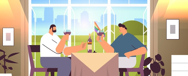 Para gejów pije wino dwóch facetów spędzających razem czas transpłciowych miłość koncepcja społeczności lgbt