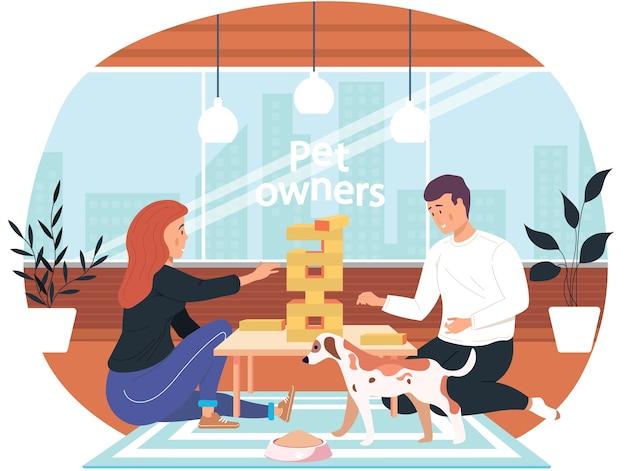 Para gra jenga w domu ilustracja kreskówka przytulny salon wieczorem. przyjazna mężczyźnie i kobiecie rodzina lub dobrzy przyjaciele spędzają weekend razem przy grze logicznej