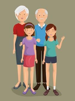 Para grand rodziców z wnuczką
