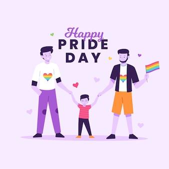 Para i rodziny na koncepcji dzień dumy