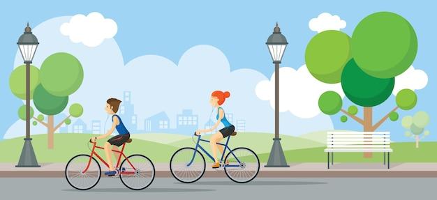 Para jazda na rowerach w parku publicznym