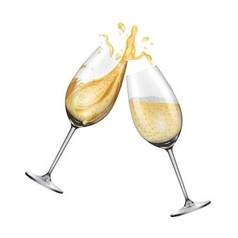 Para kieliszków do szampana na białym tle